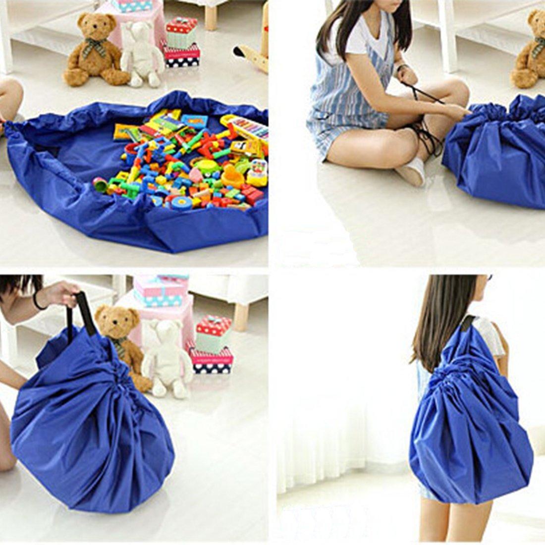 Kids 2-in-1 Toys Archiviazione e borsa da gioco portatile con cordino blu 150 cm JJPRIME
