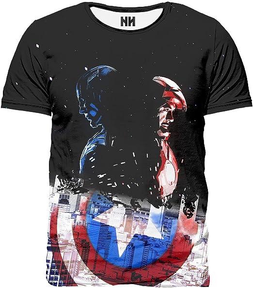Noorhero - Camiseta de Hombre - Capitan America & Iron Man: Amazon.es: Ropa y accesorios