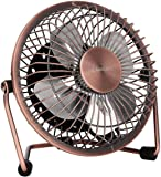 GLAMOURIC Small USB Desk Fan Mini Metal Personal Fan Retro Design Electric Portable Air Circulator Angle Adjustable Quiet Operation for Table Desktop Home Office Travel (Copper)