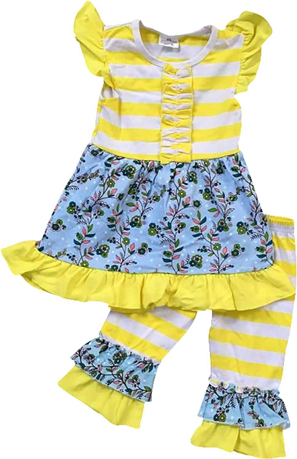 BNY Corner Little Girl Cute Floral Summer Dress Ruffles Pants Outfit Set 2T-8