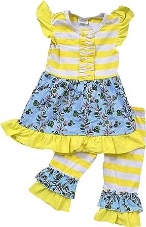 e9afcb1ef2 Toddler Girl Kids Stripe Floral Easter Dress Ruffle Pants Capris Set Yellow  2T XS 317112