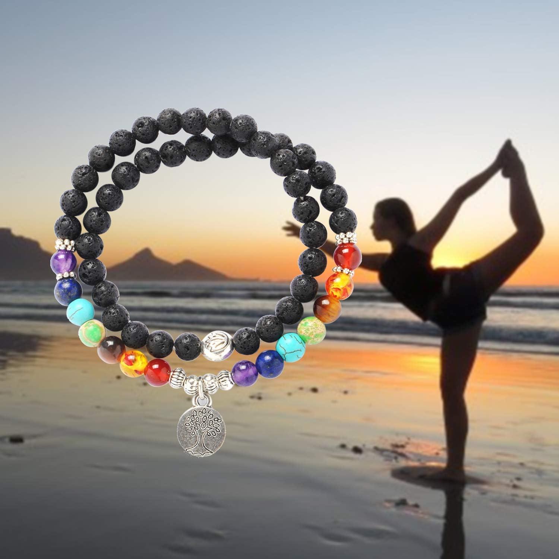 MYOSPARK Double Layers 6mm Lava Rock 7 Chakras Aromatherapy Essential Oil Diffuser Elastic Bracelet Yoga Jewelry Meditation Gift