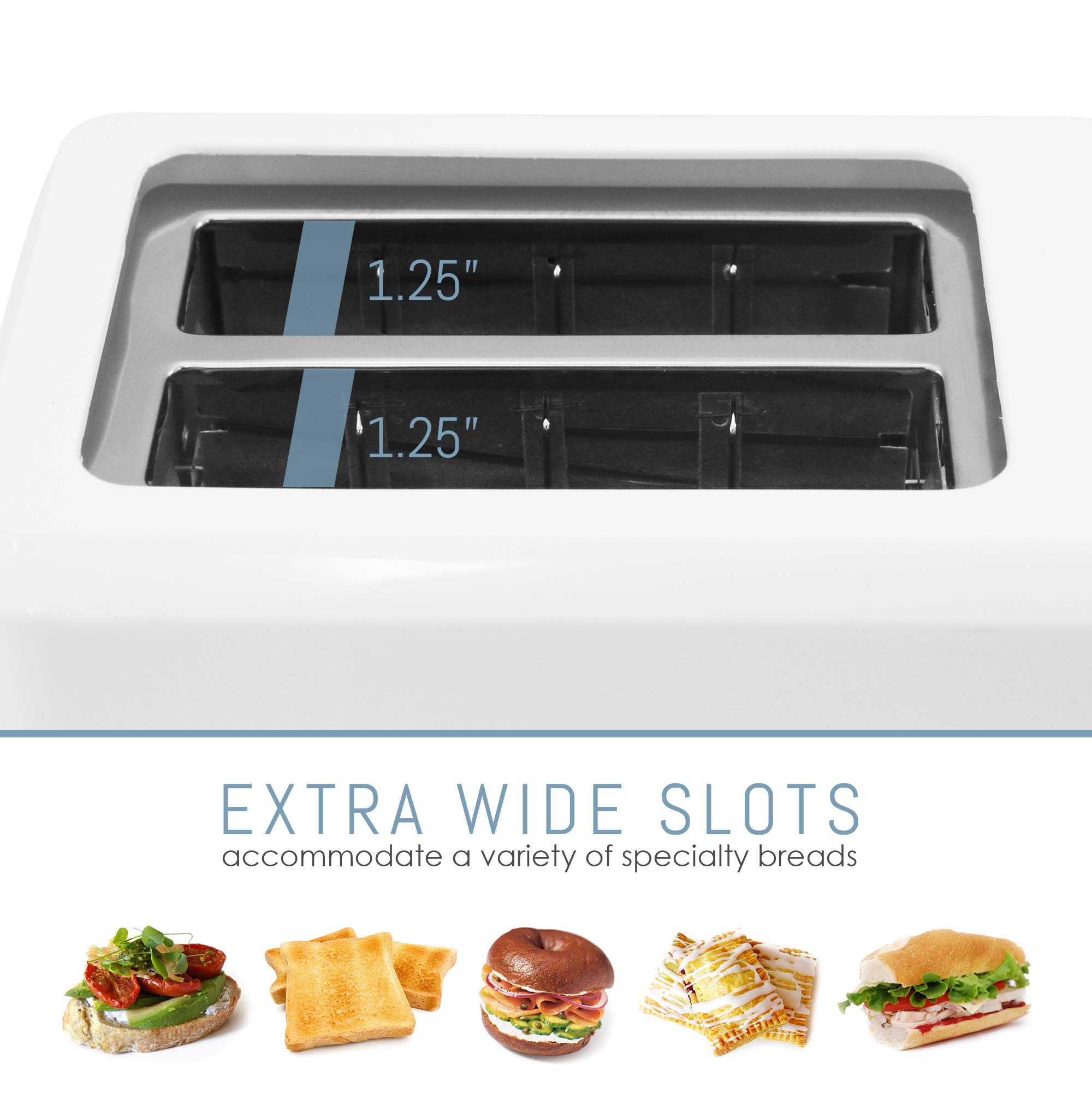 Elite Cuisine ECT-1027 Cool Touch Toaster with Extra Wide 1.25'' Slots for Bagels and Specialty Breads, 2 Slices, White by Elite Cuisine (Image #4)