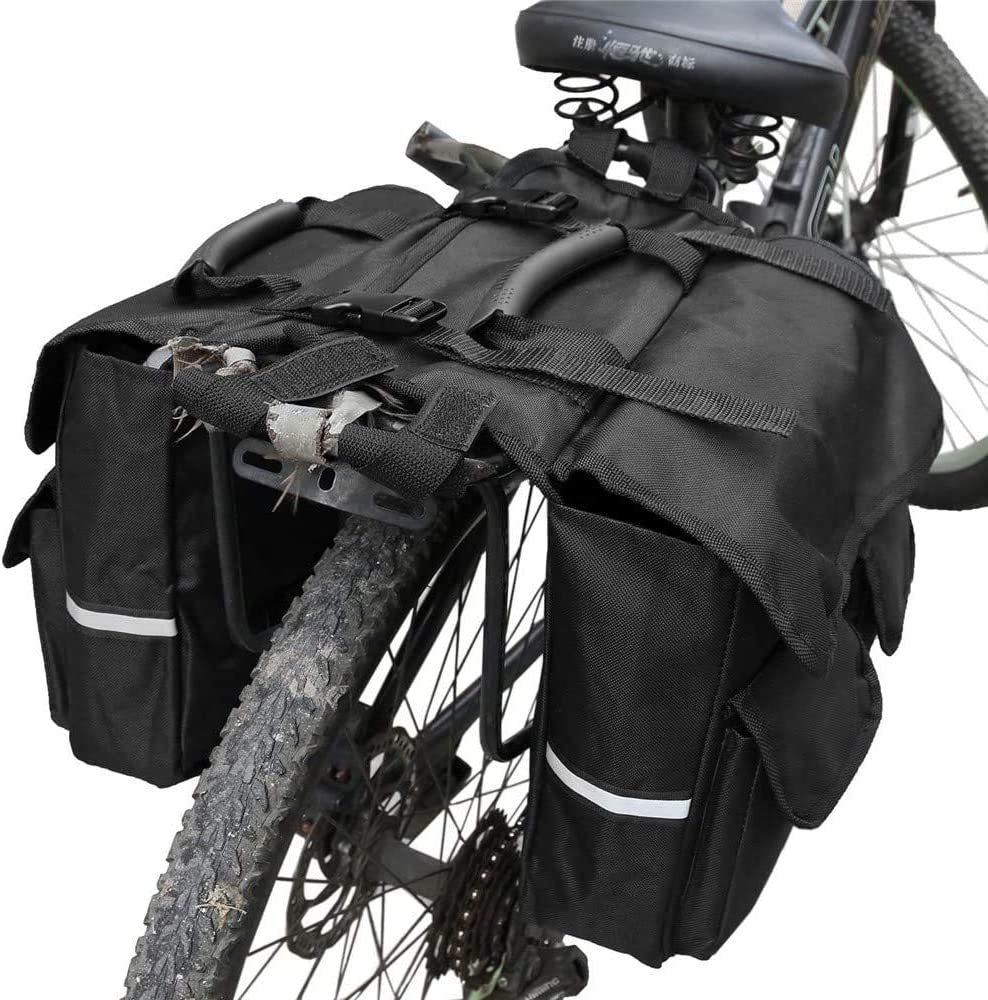 CTB 2 in 1 Bike Saddle Bag Double Side Rear Rack Pannier Luggage Carrier Storage Bag for Outdoor Bicycle Trunk