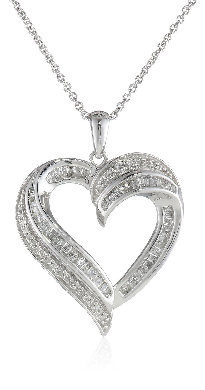 5a588261856 Amazon.com  Sterling Silver Diamond Heart Pendant Necklace (1 2 cttw ...