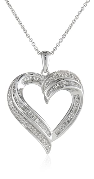 Amazon sterling silver diamond heart pendant necklace 12 sterling silver diamond heart pendant necklace 12 cttw 18quot mozeypictures Choice Image