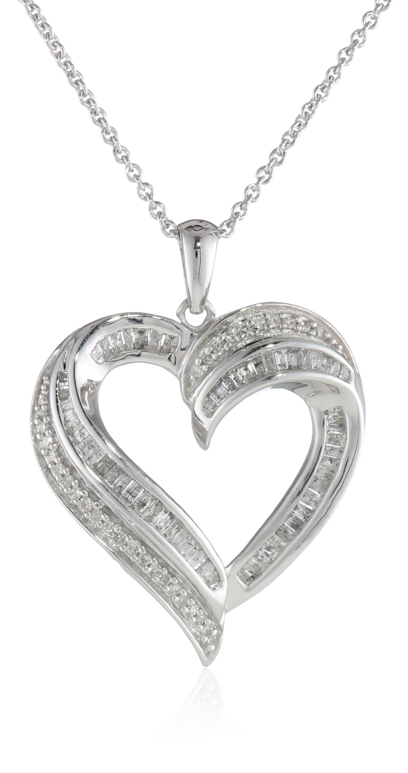 Sterling Silver Diamond Heart Pendant Necklace (1/2 cttw), 18''