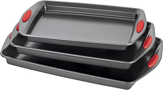 Rachael Ray 47423 Nonstick Bakeware Set with Grips, Nonstick Cookie on