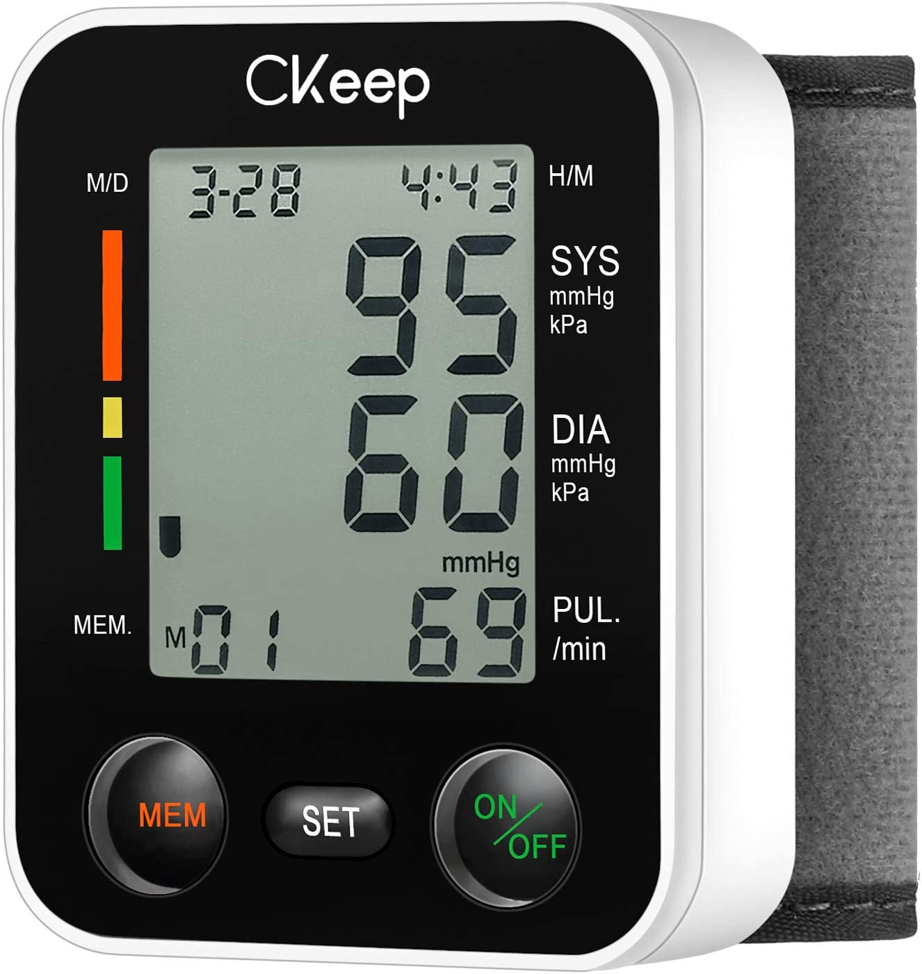 CKeep Automatic Wrist Blood Pressure Monitor with Large Display Screen and High Accuracy Reading Property,Box and Batteries Included