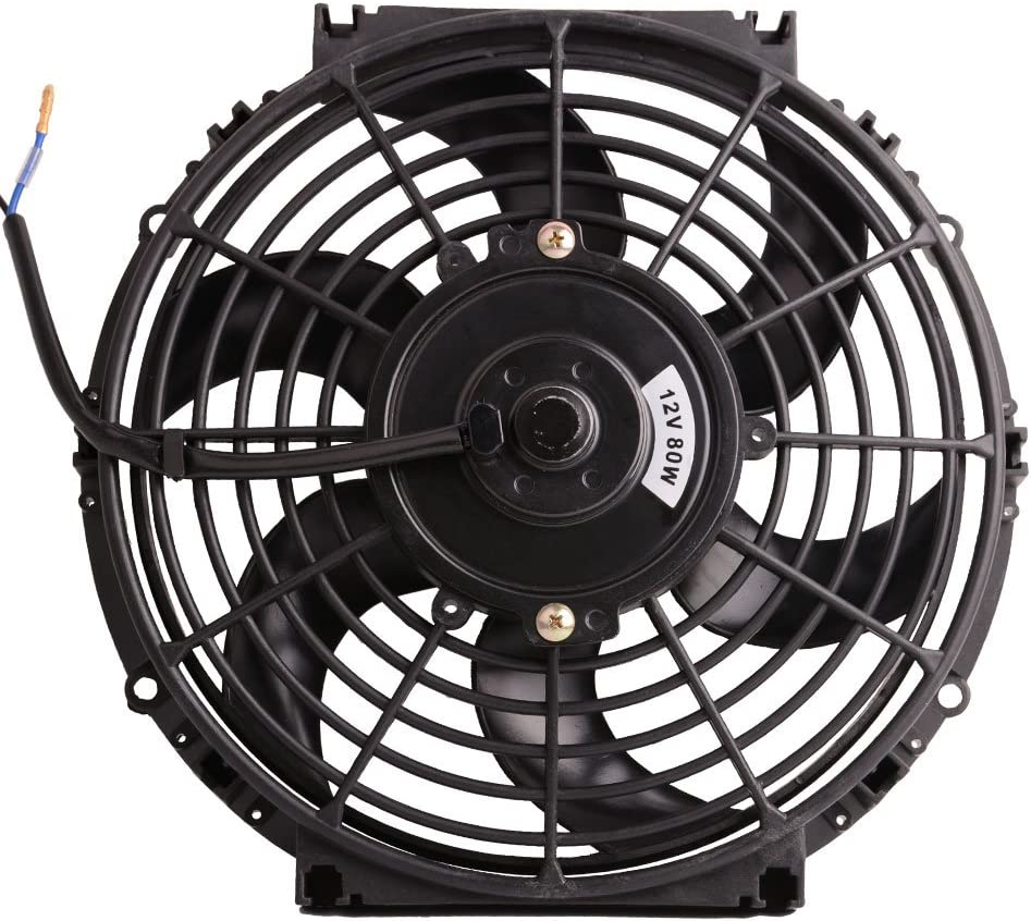 "10"" 12V Universal Electric Radiator Cooling Fan Push Pull Slim Mounting Kit 1250 CFM (Diameter 10.75"" Depth 2.56"")"
