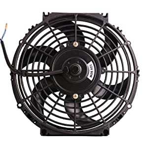 "10"" 12V Universal Electric Radiator Cooling Fan Push Pull Slim Mounting Kit 1250 CFM (Diameter 10.75"" Depth 2.56"")"