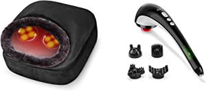 Snailax 2-in-1 Shiatsu Foot and Back Massager Handheld Massager Bundle | Kneading Feet Massager Machine with Heating Pad, Back Massage Cushion or Foot Warmer,Massagers for Back,Leg,Foot Pain Relief