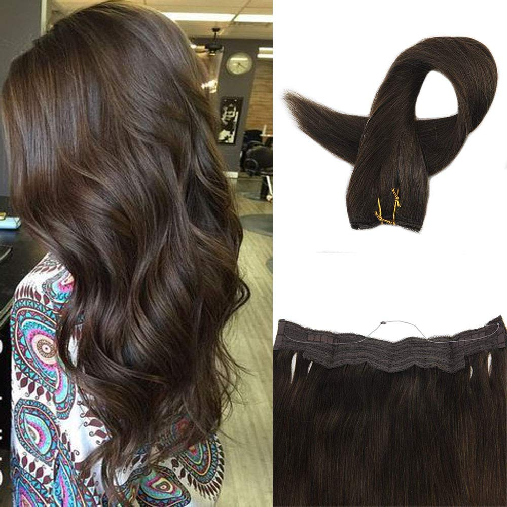 Fshine 16'' Hair Extensions Halo Extension No Clip Silky Straight Real Hair Extensions Color #2 Darkest Brown Halo Extensions Hidden Fish Line 80g
