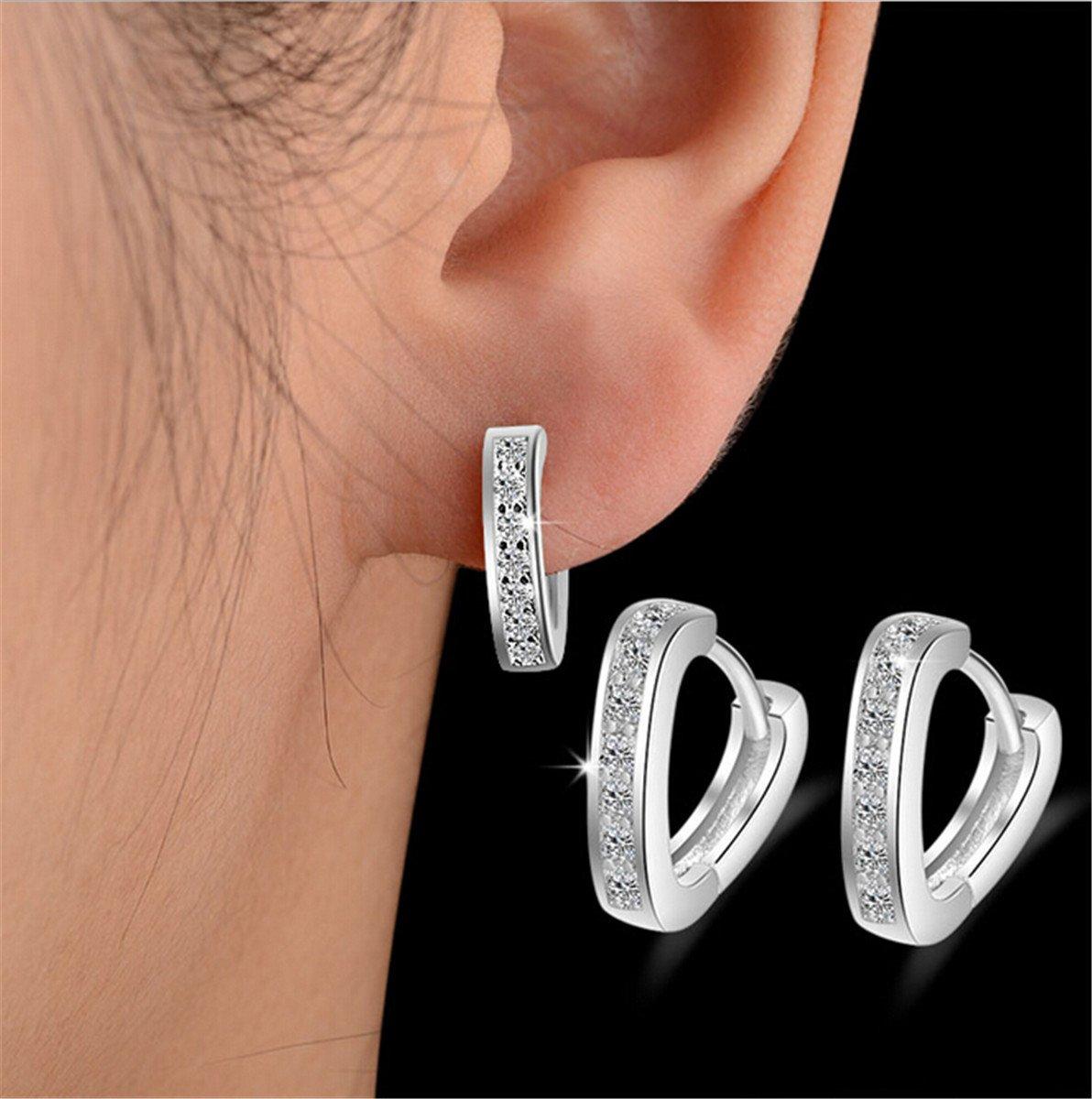 Silber Ohrringe Kreolen Klappcreolen mit Edlen Schmuck Rapidly 1 Paar Creolen Damen 925 Sterling Silber mit Zirkonia