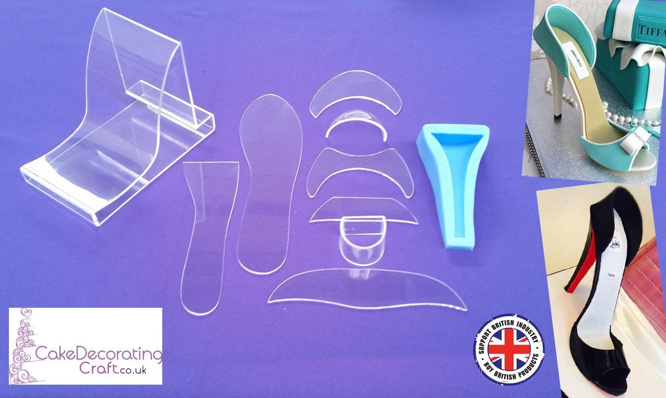 Green Ocean Fondant Alta Talón Zapato Kit + Azul pie para decoración de Pasteles y Tartas (11 Piezas): Amazon.es: Hogar