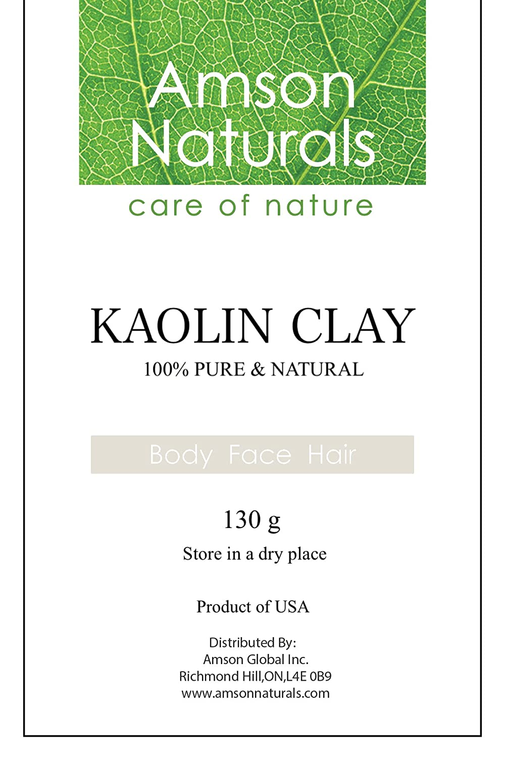 KAOLIN CLAY -230g-by Amson Naturals-100% Pure & Natural – Excellent for Facial Mask, Body Scrubs, Lotions, Creams, Hair Care Products and DIY recipes.
