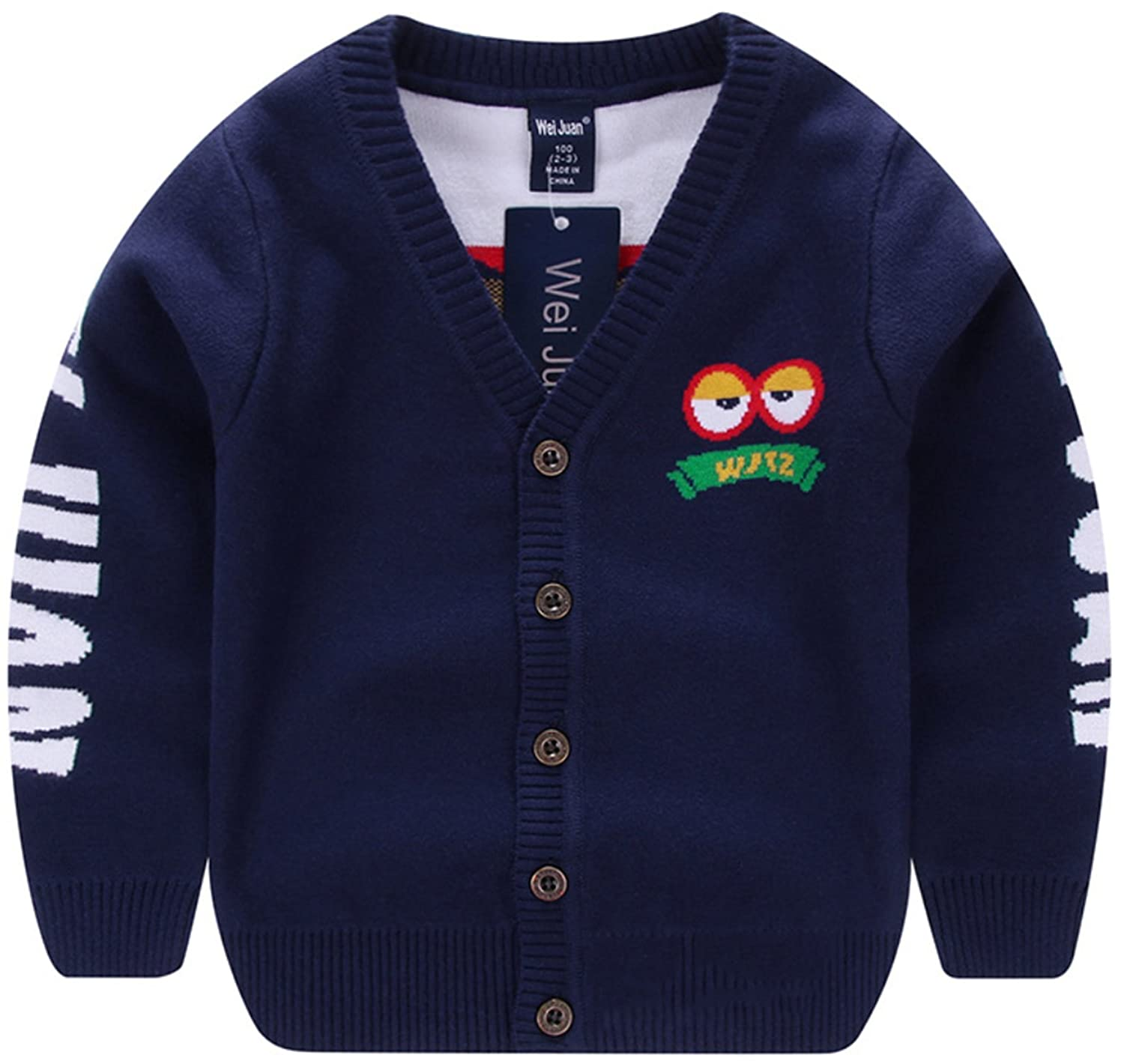 AUIE SAOSA Little Boys Winter Double Cotton Knit Cartoon V Neck Warm Cardigan Sweater