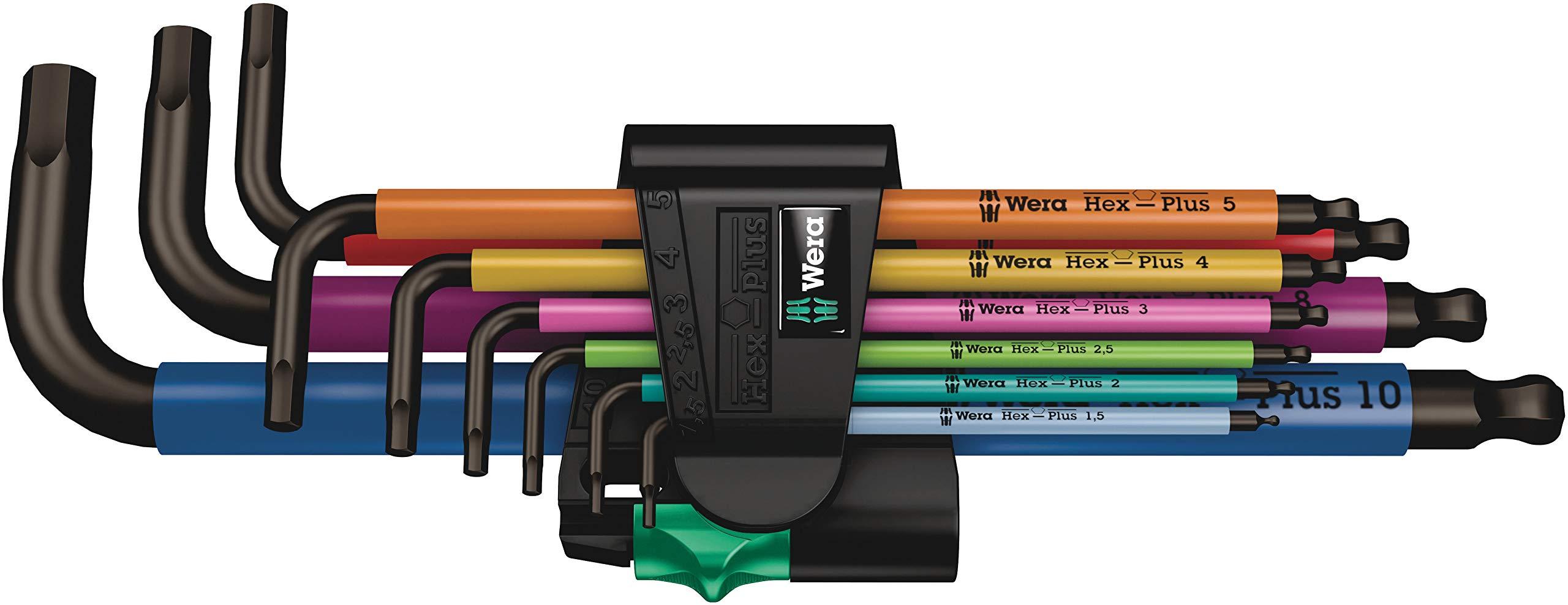Wera 05073593001 950 Spkl/9 Sm N Multicolor L-Key Set, Metric, Blacklaser, 9 Pieces by Wera