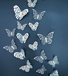Eoorau 36PCS Silver Butterfly Wall Decals - 3D Butterflies Wall Stickers Removable Mural Decor Wall Stickers Decals Wall Decor Home Decor Kids Room Bedroom Decor Living Room Decor