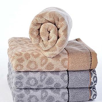 LongYu Toalla de algodón con Estampado de Leopardo Toalla de baño Toalla para Adultos * 4 Azul Marrón 120g: Amazon.es: Hogar