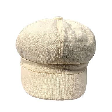 Women Newsboy Cap Gatsby Yellow Cotton Octagonal Hat Flat Solid Female Casual Uv Autumn Mens Painter Cap at Amazon Womens Clothing store: