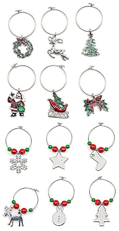 woowell wine charms for glasses stemmed goblet christmas theme wine glass tags white steel ring markers - Christmas Wine Charms