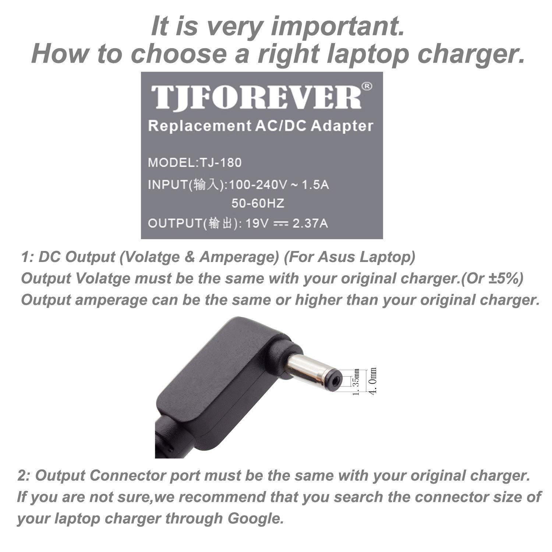 TJFOREVER Cargador Portatil ASUS 19V 2.37A 45W para ASUS Zenbook ux305 ux305f ux310u ux303u S200e X540s X541u Notebook Ordenador portátil Fuente de ...