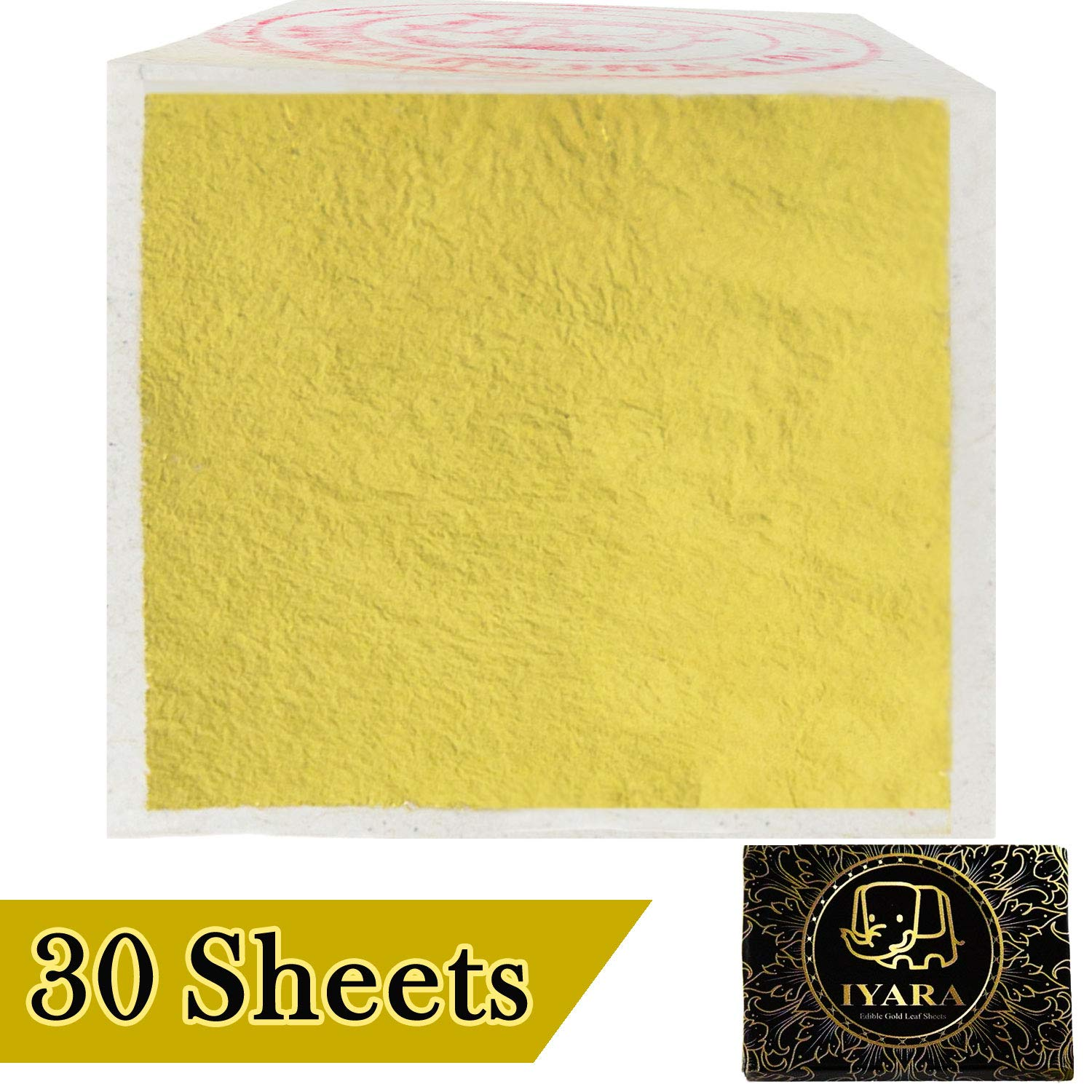 IYARA 30 Edible Leaf Sheets – Multipurpose 24 Karat Yellow Gold Leaves for Food and Cake Decoration, Spa, Anti-Wrinkle Face Masks, Art, Crafts, Gilding, Restoration, DIY Projects (1.2'' x 1.2'')