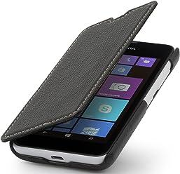 StilGut UltraSlim, housse Nokia Lumia 530 en cuir. Etui de protection à ouverture verticale et fermeture clipsée, spécialement conçu pour le Nokia Lumia 530, noir