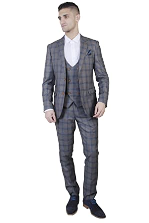 0784c9f6ec711a Marc Darcy Mens Logan Grey Check Three Piece Suit with Neon Blue Inner  Lining Slim Fit | Luxury Classic Country Dining Suit for Smart Formal  Occasions ...