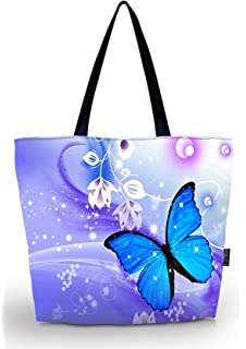 a018c669f96e ICOLOR Blue Butterflies Portable Eco Reusable Eco-friendly Shopping Bag  Handle case Bag School Shopping
