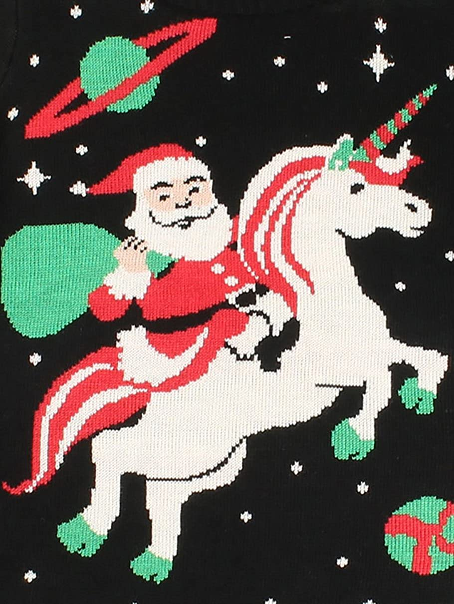 Santa Riding A Unicorn 1 Knit Sweater Pullover for Teens Girls