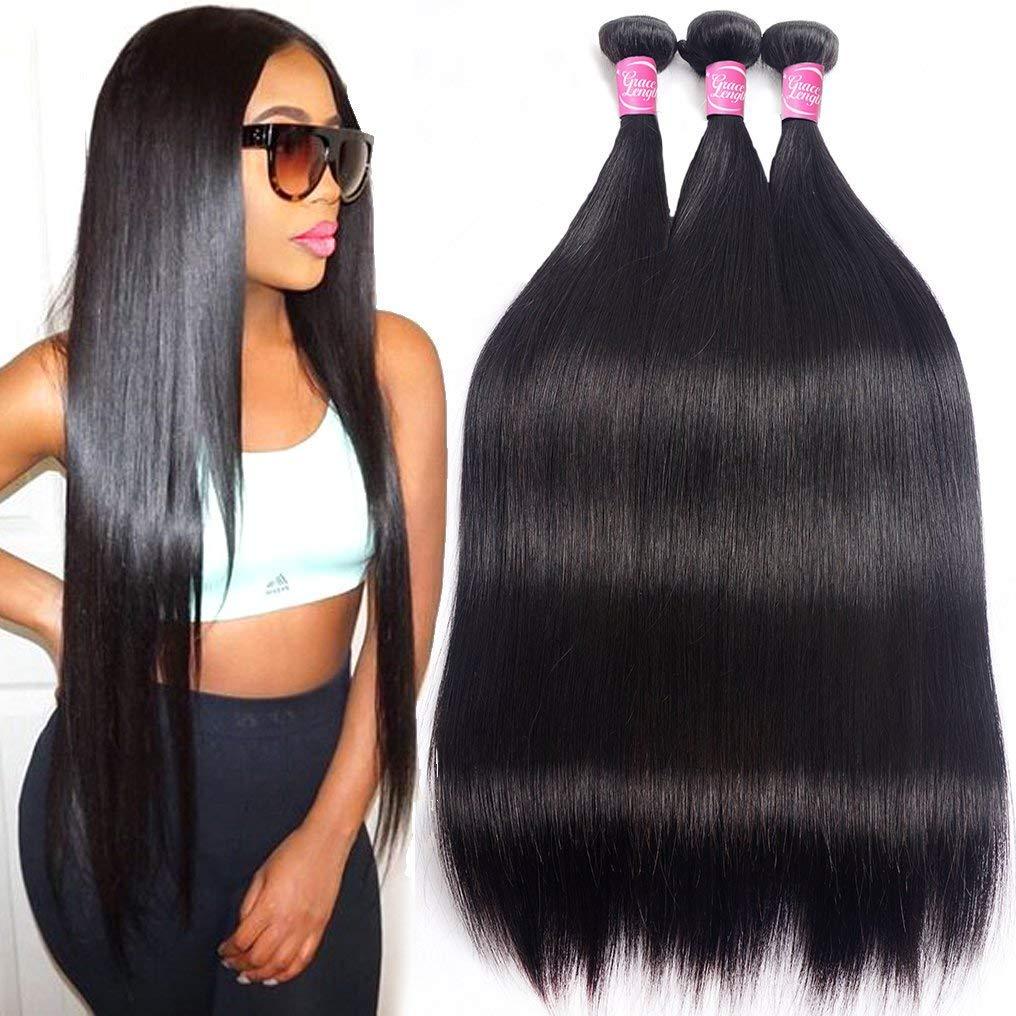 Mink 8A Brazilian Virgin Hair Straight Remy Human Hair 3 Bundles Deals 12'' 14'' 16'' Unprocessed Brazilian Straight Hair Extensions Natural Color Weave Bundles by Grace Length Hair by Grace Length