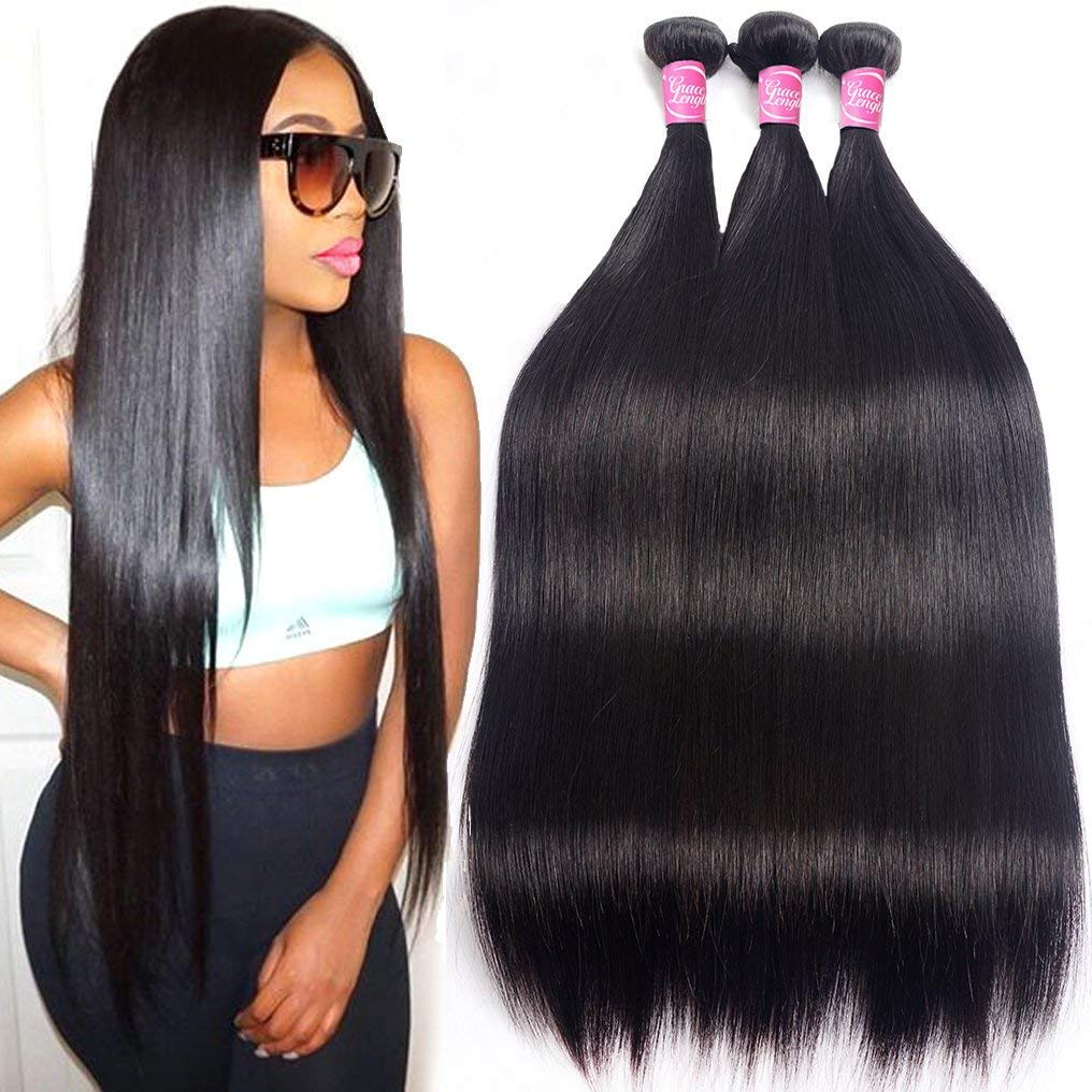 Mink 8A Brazilian Virgin Hair Straight Remy Human Hair 3 Bundles Deals 12'' 14'' 16'' 100% Unprocessed Brazilian Straight Hair Extensions Natural Color Weave Bundles by Grace Length Hair