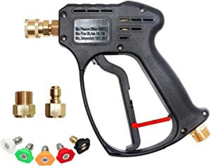 EDOU 5000 PSI High Pressure Power Washer Short Gun Kit,includeing 5 Spray Nozzles 1/4'' Quick-Connect M22 Fitting