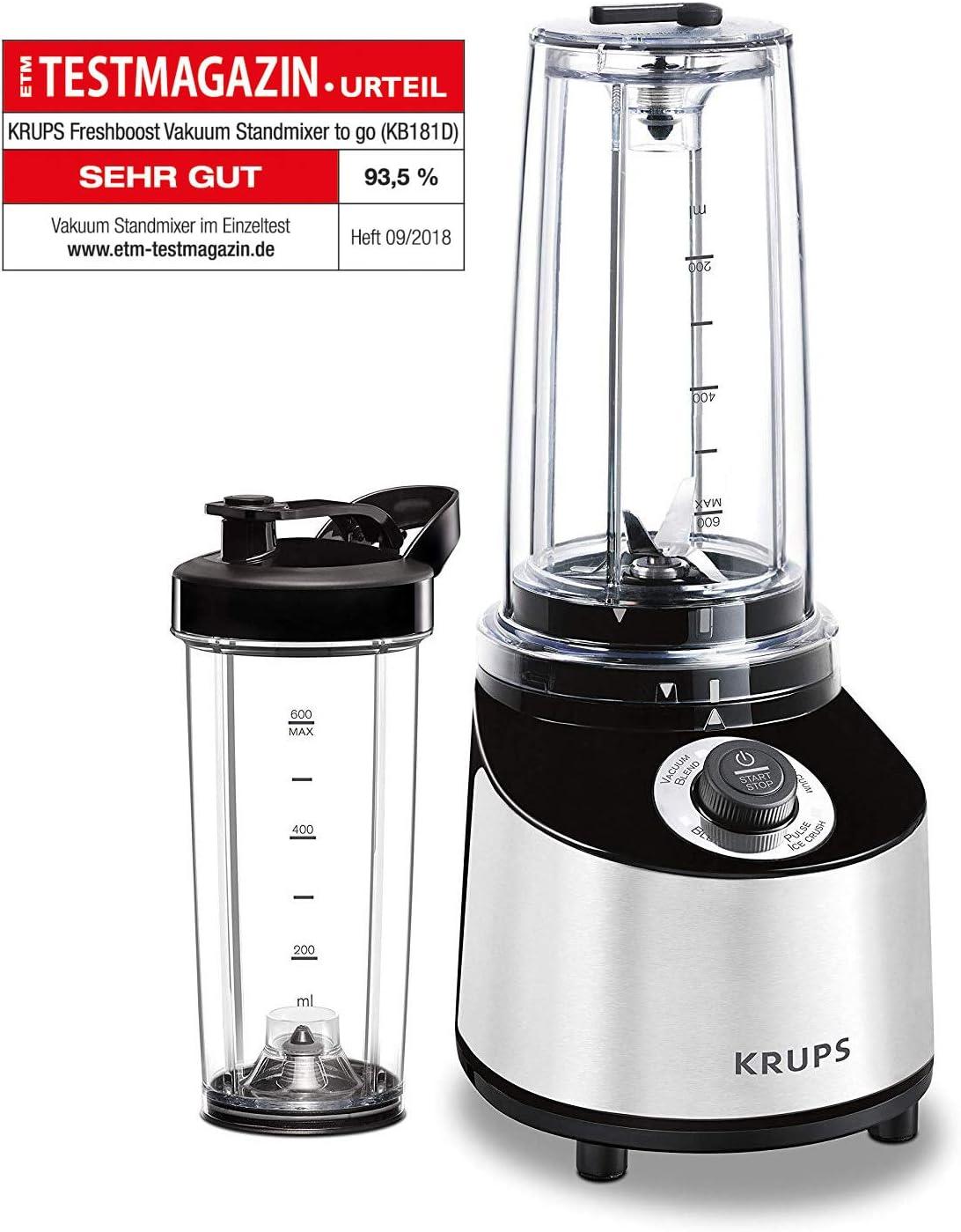 Krups Freshboost Standmixer mit Vakuum Technologie (3 veces más antioxidantes, vitaminas, refuerza el sistema inmunológico), 4 programas, 2 botellas, 800 W, 0.6 litros, acero inoxidable, Negro