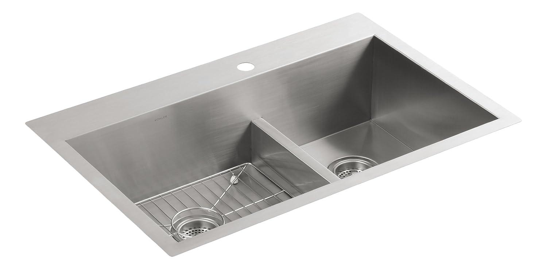Kohler K-3839-4-NA Vault Smart Divide Offset Sink, Stainless Steel ...