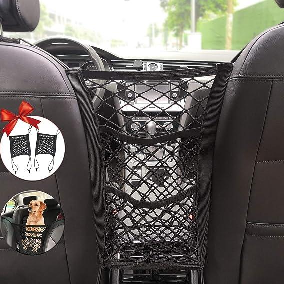 2021 Upgrade Version Power Bank Storage Seat Back Net Bag Cup Driver Storage Netting Pouch - Felmyst Car Net Pocket Handbag Holder with 3 Pockets Handbag Holder Attaches to Headrest for Purse