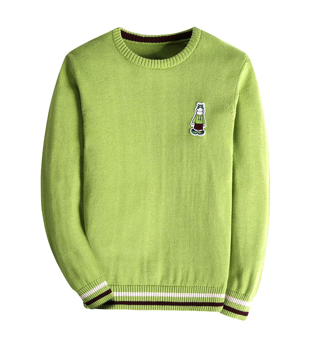 KID1234 Boy's Long Sleeve Sweater Pullover Crew Neck 100% Cotton Multicolor Striped (Green, 14)