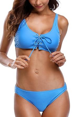 dd951c1ca1 beautyin Women s Two Piece Swimming Suits Strappy Lace Up Bikini Swimsuit  Blue M