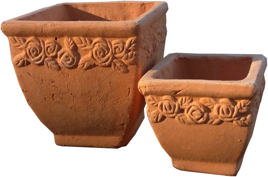Goodman and Wife Set of 2 New Designed Hand Pressed Different Sized Ancient Stressed Terracotta Square Flower Pot or Planter