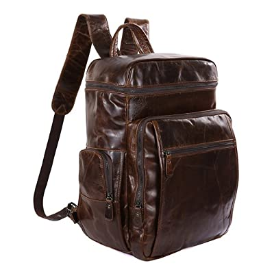 "15"" Laptop Leather Business Backpack ,Berchirly Office Backpack Leather Travel Schoolbag Rucksack"