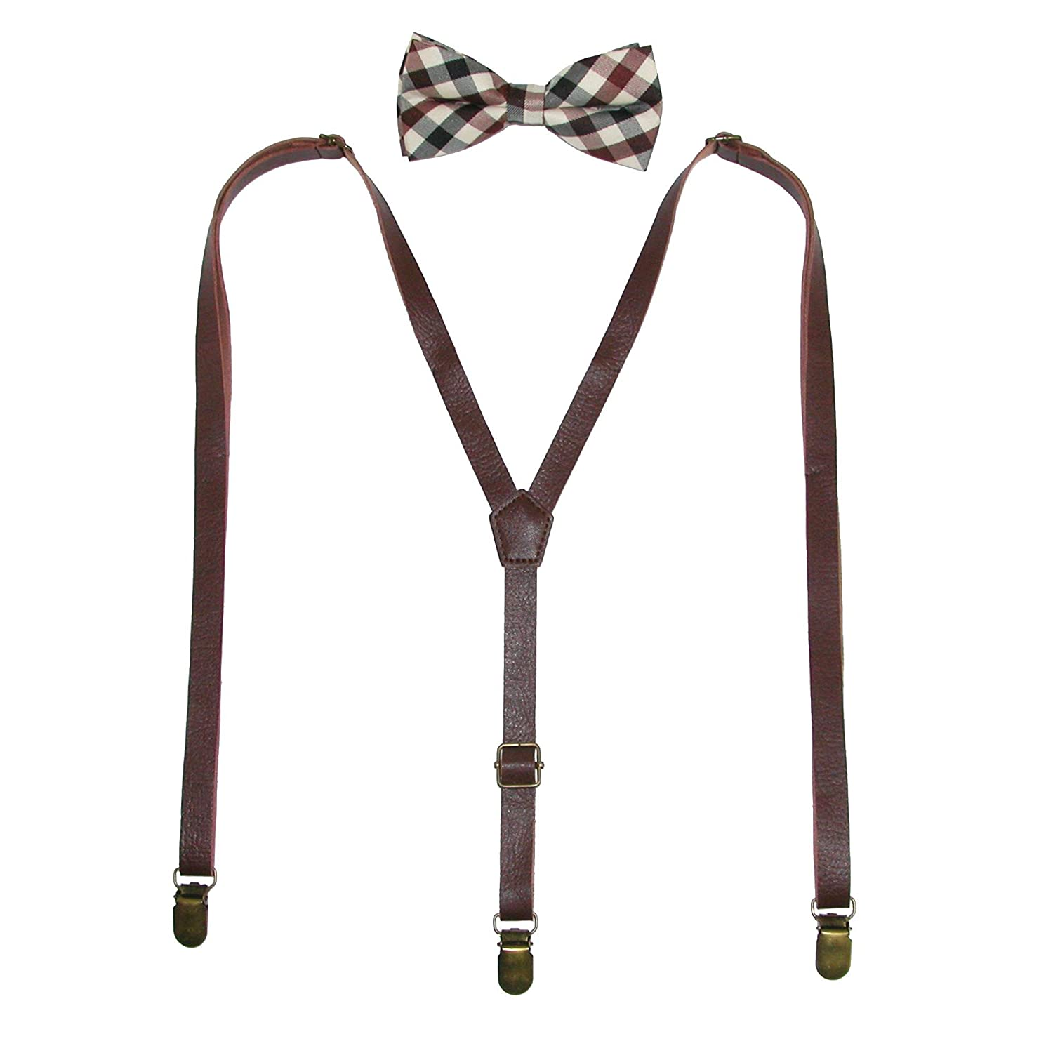 CTM Men's Brown Plaid Bow Tie with Brown Faux Leather Suspender Set, Brown FA-BRPLDLRSET-BRN