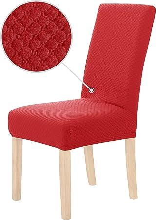 Deconovo Lot de 2 Housse de Chaise Extensible Rouge Housses de Chaises Large de Réception Anniversaire Extra Doux Jacquard pour Maison 46x46x60cm