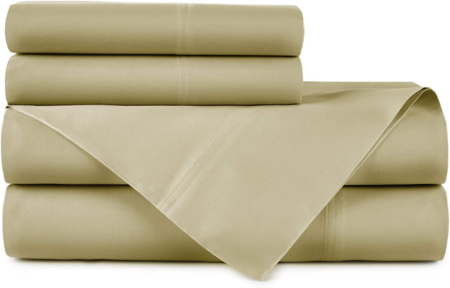 Peacock Alley Emily 100% Egyptian Cotton Sheet Set | Dream at Home Collection | 500 Thread Count Sateen Sheets | King & Queen Size Beds | Great Color Options (Mushroom, Queen Set)