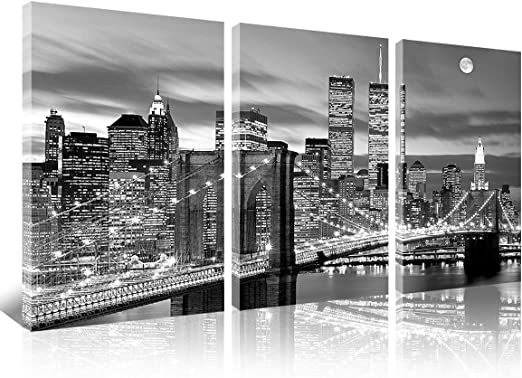 Brooklyn Bridge at Night /& New York Skyline Framed  Print Framed A Quality