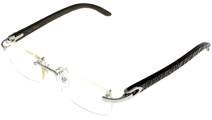 9afac3cb25d1 Cartier Prescription Eyeglasses Frame Wood T8100864 Rimless  Amazon.co.uk   Clothing