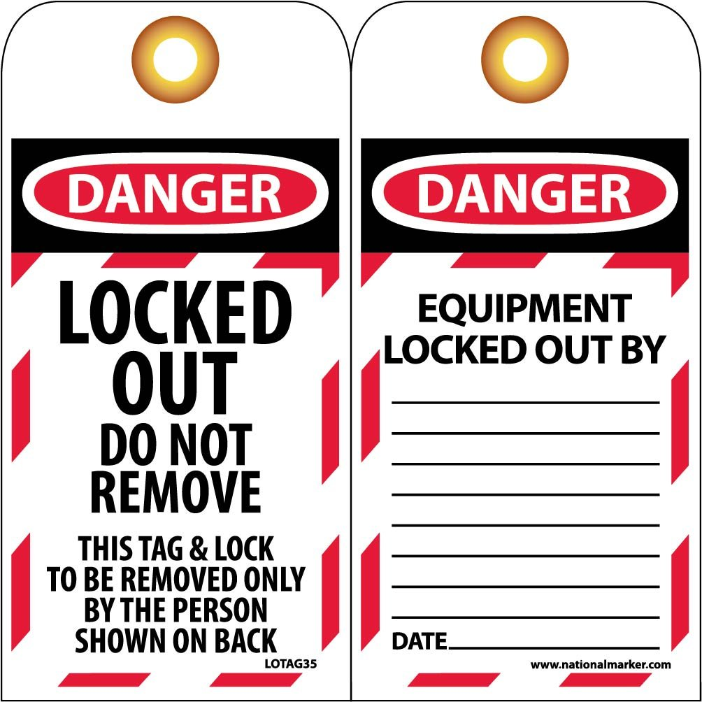 NMC LOTAG35 Lockout Tag, ''DANGER, LOCKED OUT DO NOT REMOVE'', 3'' Width x 6'' Height, Unrippable Vinyl, Red/Black on White (Pack of 10) by NMC