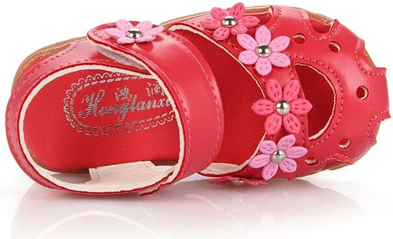 Toddler//Little Kid DADAWEN Girls Summer Soft Closed-Toe Princess Flower Outdoor Casual Sandals