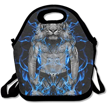Amazon Com Blue Fire Tiger Wallpaper Lunch Bag For Work Men And